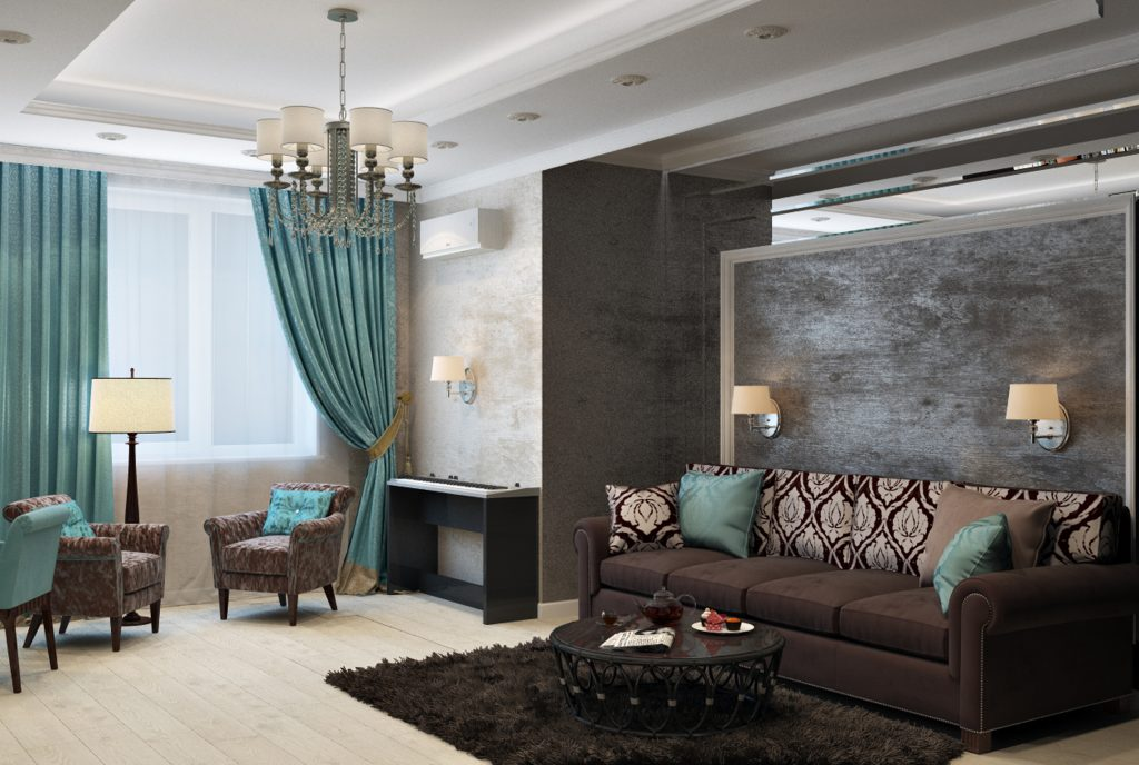 Energy efficient thick teal drapes over large window in living room with brown couch and rug